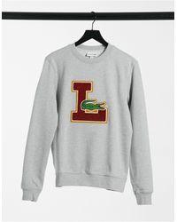 Lacoste College Sweatshirt Met Getextureerd Logo - Grijs