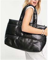 TOPSHOP Large Quilted Tote Bag - Black