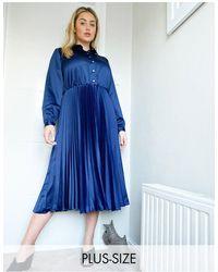Closet London Plus Pleated Shirt Midi Dress - Blue