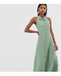 Mango Vestido sin mangas verde con botones