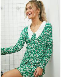 Monki Зеленое Платье Мини С Цветочным Принтом -зеленый Цвет