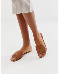 ASOS Favoured Leather Flat Sandals - Brown