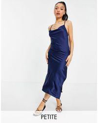 Miss Selfridge Petite Satin Lace Up Slip Dress - Blue