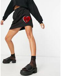 Love Moschino Черная Трикотажная Юбка С Логотипом-сердцем -черный