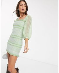 Capulet Siobhan Checked Smocked Mini Dress - Green