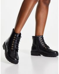 New Look Zip Detail Lace Up Boot - Black