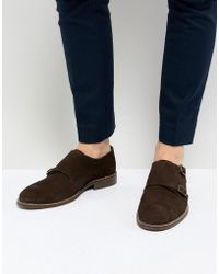 Dune - Monk Shoes In Brown Suede - Lyst