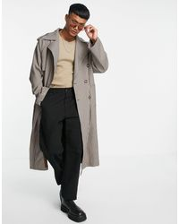 ASOS Longline Oversized Double Breasted Check Trench Coat - Brown
