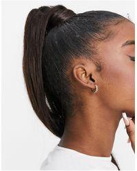 Orelia Quilted huggie Hoop Earrings - Metallic