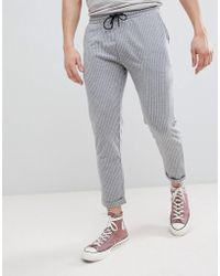 Pull&Bear - Tailored Joggers In Gray Stripe - Lyst