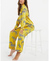 Chelsea Peers Атласная Пижама Горчичного Цвета С Принтом Зебры -желтый