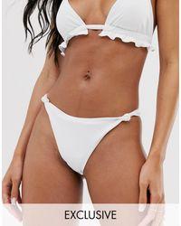 South Beach - Esclusiva - Slip bikini ecologici mix & match sgambati con nodo laterale bianchi - Lyst