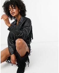 Goosecraft Leather Jacket With Fringing - Black
