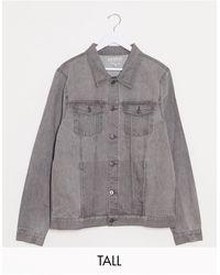 Another Influence Tall - Veste en jean coupe slim - Délavé gris