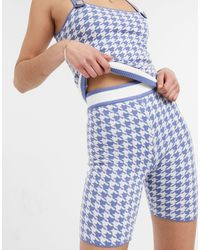 River Island Houndstooth Check Knit Co-ord Shorts - Blue