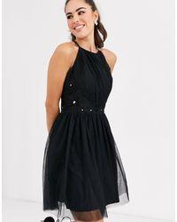 Little Mistress Приталенное Платье С Высоким Вырезом -черный