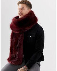 ASOS - Faux Fur Scarf In Burgundy - Lyst
