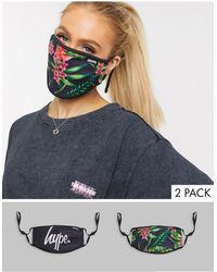 Hype Lot de 2 masques en tissu à bandes ajustables et imprimé fleuri, en exclusivité - noir - Multicolore