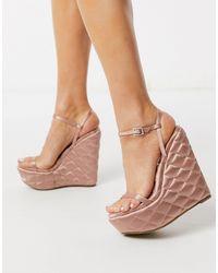 ASOS Розовые Стеганые Туфли На Танкетке - Розовый