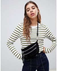 Weekday - Long Sleeve Stripe Top In Khaki And White - Lyst