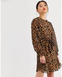 Whistles Brushed Cheetah Mini Dress - Brown