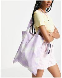 Monki Сиреневая Сумка-тоут Из Органического Хлопка С Принтом Тай-дай Maja-фиолетовый Цвет - Пурпурный