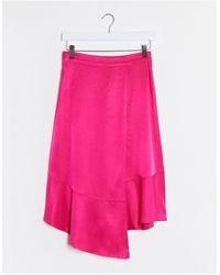 Gestuz Розовая Атласная Асимметричная Юбка -розовый