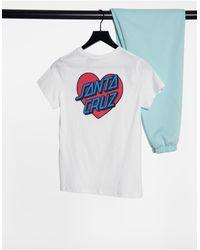 Santa Cruz Heart Dot - T-shirt bianca - Bianco