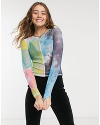 Glamorous Mix Print Long Sleeve Mesh Top With Overlocking - Multicolour