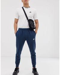 Nike Темно-синие Джоггеры С Манжетами Club-темно-синий