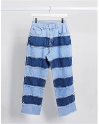 The Ragged Priest - Mom jeans a righe effetto patchwork - Lyst