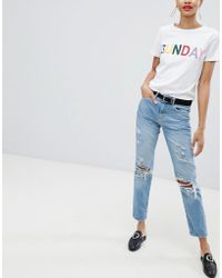 Pieces - Distressed Mom Jean - Lyst