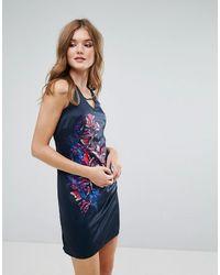 Lavand Vestido recto sin mangas con estampado floral - Azul