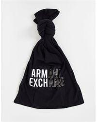 Armani Exchange Sciarpa nera con logo grande - Nero