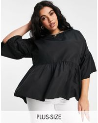 Simply Be Smock Top With Frill Sleeves - Black