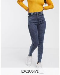 Urban Bliss High Waist Skinny Jeans With Belt-blue