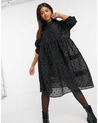 Object Shirt Dress Spot Detail - Black