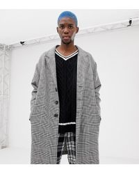 Collusion - Overcoat In Gray Check - Lyst