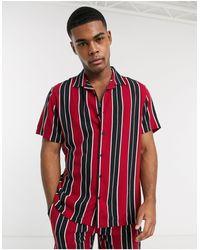 Brave Soul Revere Collar Co-ord Short Sleeve Shirt - Red