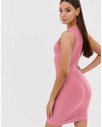 The Girlcode – Bandagenkleid mit Einsatz und eingearbeiteten Körbchen - Pink