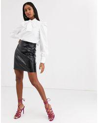 Vila Vinyl Mini Skirt - Black
