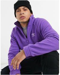 adidas Originals Фиолетовый Флисовый Свитшот С Короткой Молнией До Груди -белый - Пурпурный