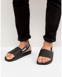 Slydes Fin Logo Strap Slider Flip Flops - Black