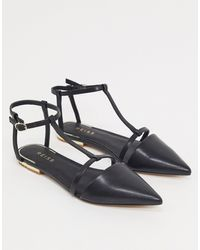 Reiss Olivia Pointed Ballet Flats - Black