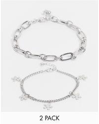 ASOS Midweight 6mm Chain Bracelet Pack With Flower Pendants - Metallic