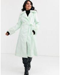 ASOS High Shine Faux Fur Collar Trench Coat - Green