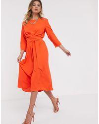 ASOS Оранжевое Приталенное Платье Миди С Поясом - Оранжевый