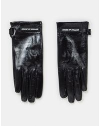 House of Holland Leather High Shine Gloves - Black