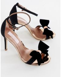 Ted Baker - Black Sparkling Bow Detail Barely There Heeled Sandals - Lyst