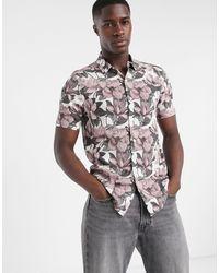 TOPMAN Short Sleeve Floral Printed Shirt - Multicolor
